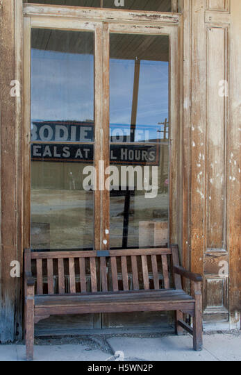 Wheaton & Luhrs in Bodie, California, a ghost town that was once a booming mining town. - Stock Image