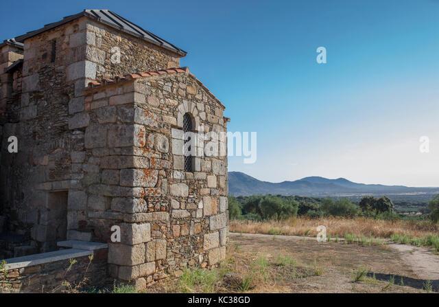 Visigothic Basilica of Santa Lucia del Trampal, Alcuescar, Spain. Outdoors scenic spot - Stock Image