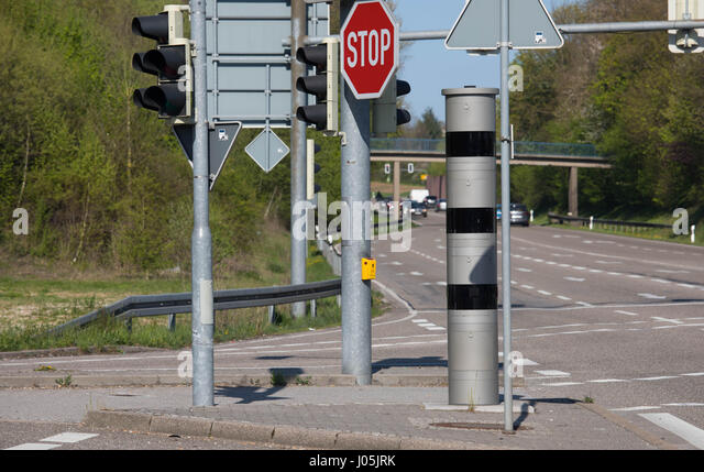 Speed Trap - Radar Trap - Red light control - Stock Image