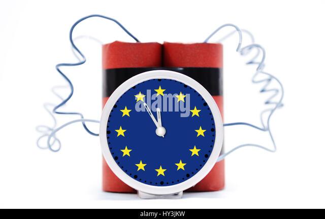 Time bomb with EU sign, Zeitbombe mit EU-Zeichen - Stock Image