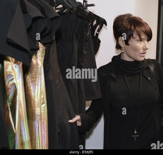 Pop singer Irina Ponarovskaya chooses garments in Dolce Gabbana boutique - Stock Image