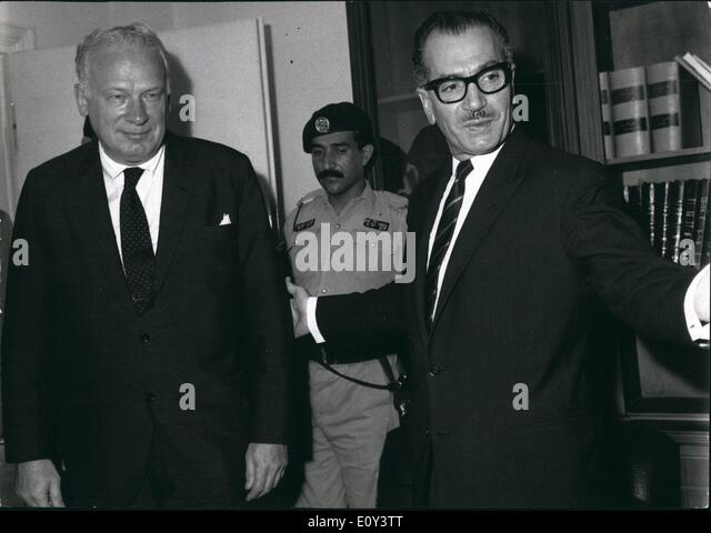 Jul. 07, 1968 - Mr. George Ball with the Jordanian minister of foreign affairs in the ministry of foreign affairs. - Stock Image