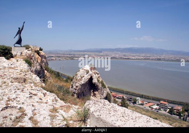 Statue of St Francis of Assisi overlooks Cagliari, Sardinia, Mediterranean Sea, Europe, - Stock Image