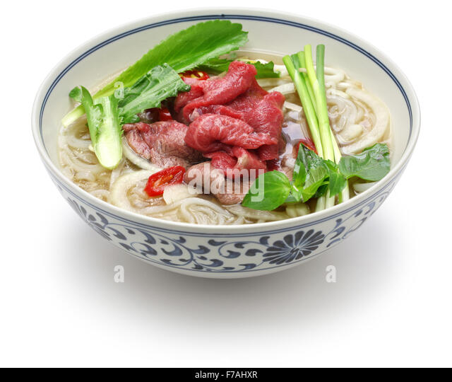 pho bo, vietnamese beef rice noodle soup isolated on white background ...