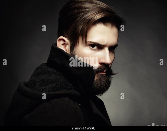 Portrait of handsome man with beard. Close-up - Stock-Bilder