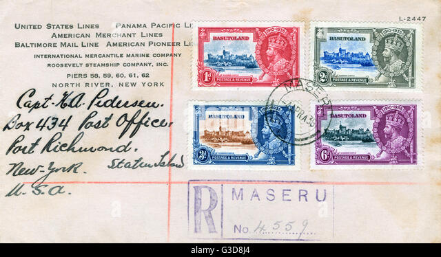Envelope with stamps from Basutoland (now Lesotho), South Africa, postmarked Maseru.      Date: 1936 - Stock Image