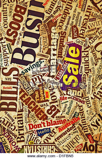 newspaper collage - Stock Image