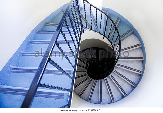 high angle view of old spiral staircase - Stock Image