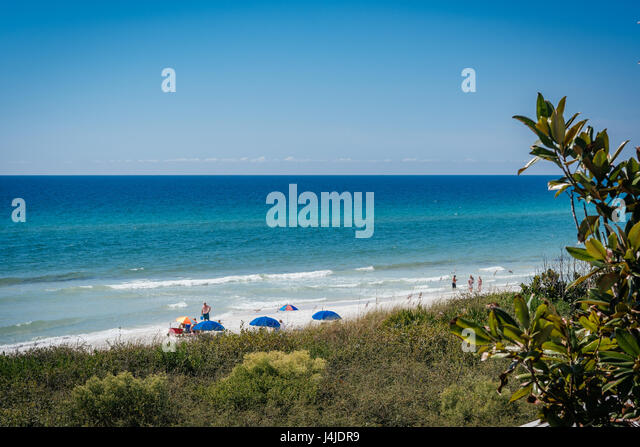 A white sandy beach found at Seaside, Florida, on the Gulf of Mexico, in the Florida Panhandle, near Destin. - Stock Image