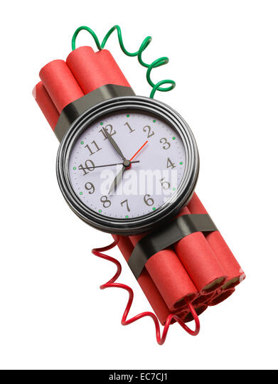 Dynamite Bomb With Clock Isolated on White Background. - Stock Image