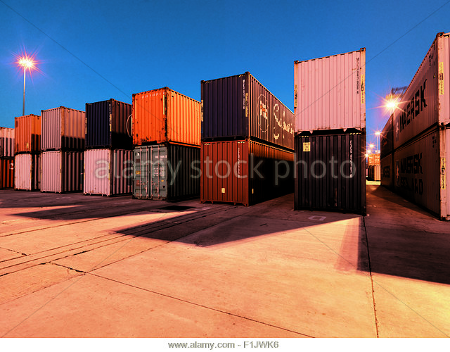 Cargo Containers in Port Elizabeth Harbour - Stock Image