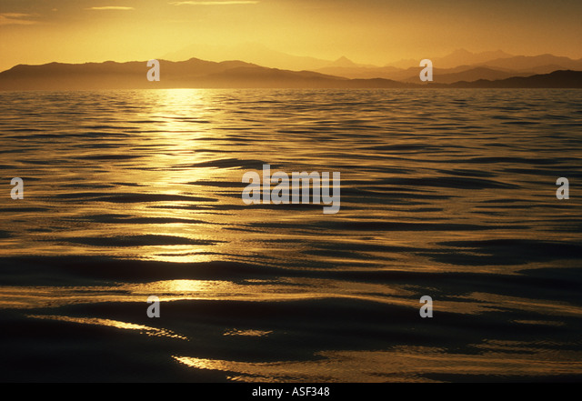Seascape Golden sunset from silky calm ocean looking towards mountains and hills of Raukumara Range East Cape New - Stock Image