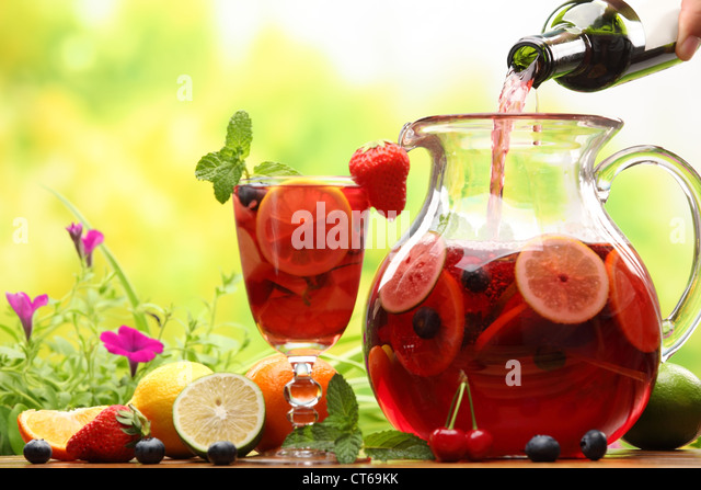 Refreshing sangria (punch) with fruits - Stock Image