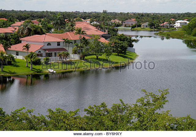 Fort Lauderdale Ft. Florida Sunrise lake residential houses homes - Stock Image