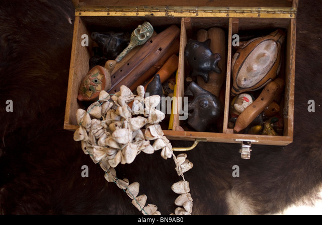 Mesoamerican Pre-Hispanic musical instruments inside a suitcase, in Mineral de Pozos, Nuevo Leon State, Mexico - Stock Image