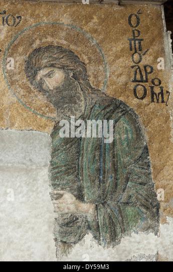 Byzantine mosaic of John the Baptist in the Hagia Sophia, Istanbul. - Stock-Bilder