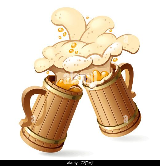 Beer mugs - Stock Image