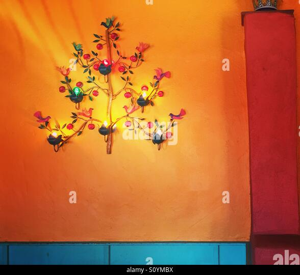 Lights on colored wall - Stock Image