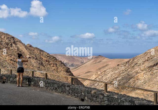Degollada de Los Granadillos, Viewpoint,  Fuerteventura Canary Islands, Spain - Stock Image