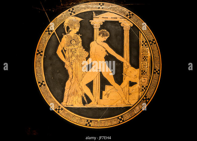 Madrid, Spain - February 24, 2017: Kylix by Aison with The exploits of Theseus, taking on his opponents at National - Stock Image