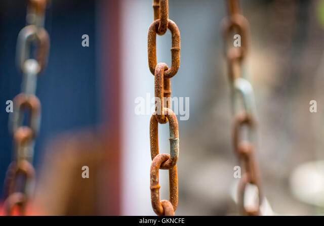 old iron chain which is corroded - Stock Image