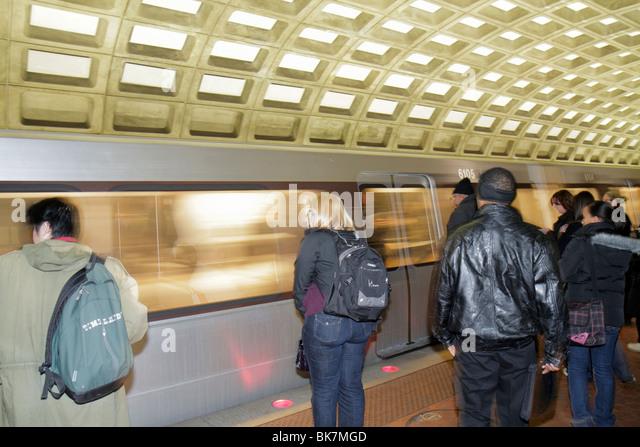 Washington DC Gallery Place Metrorail Station Chinatown rapid transit system public transportation train platform - Stock Image