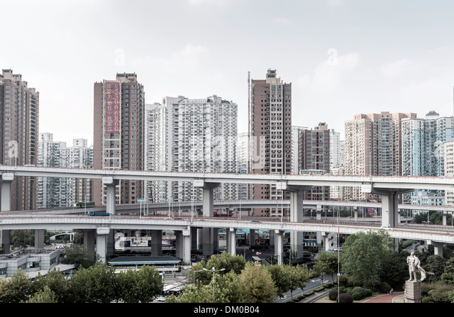 Nanpu Bridge, Nanshi, Shanghai, China - Stock Image