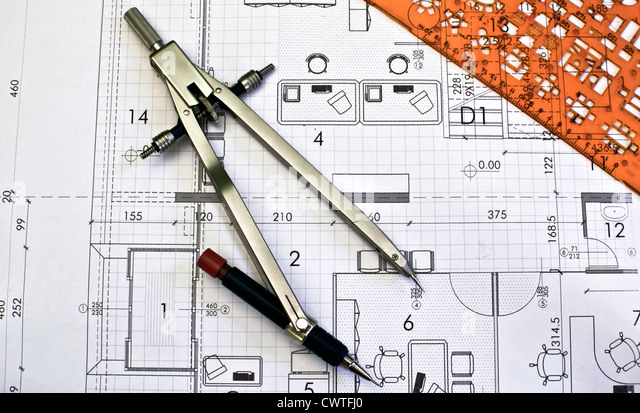 architecture project drawing blueprints with divider - Stock Image