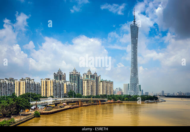 Guangzhou, China city skyline. - Stock-Bilder