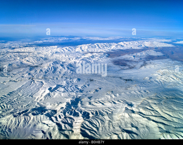 Iran, aerial view from an elevation of 10 000 metres, plateau, mountains, Iran - Stock Image