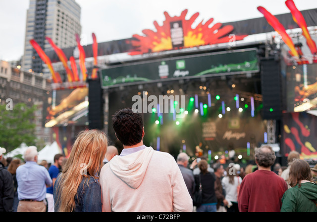 Canada,Quebec,Montreal, Montreal Jazz Festival, people at outdoor concert - Stock Image
