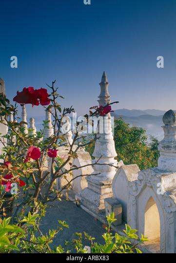 dawn at Wat Doi Kong Mu Mae Hong Son Thailand - Stock Image