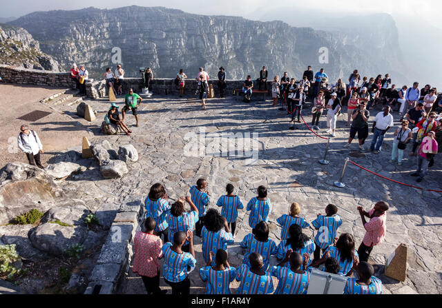 Cape Town South Africa African Table Mountain National Park nature reserve top overlook Abathandi Boxolo Gospel - Stock Image