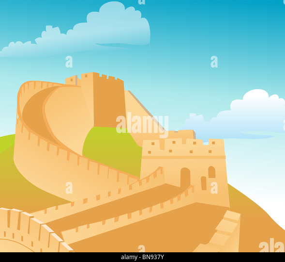 The great wall of China, with blue sky backdrop - Stock Image