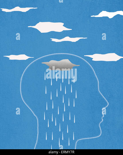 head silhouette  and rain  digital illustration - Stock Image