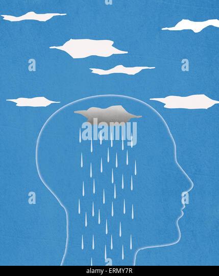 head silhouette  and rain  digital illustration - Stock-Bilder