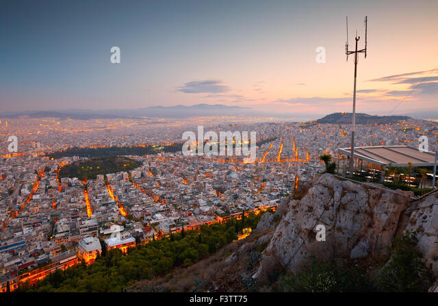 View of Athens and Strefi Hill from Lycabettus Hill - Stock Image