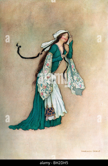 Alison, by Warwick Goble, from The Complete Poetical Works of Geoffrey Chaucer, 1912. - Stock Image