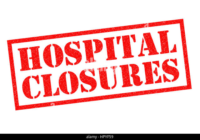 HOSPITAL CLOSURES red Rubber Stamp over a white background. - Stock Image
