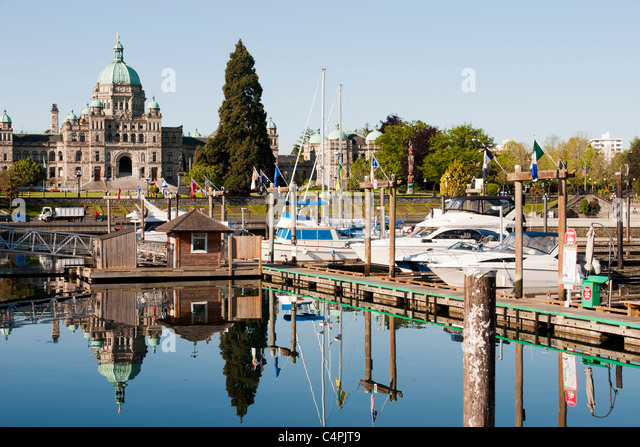 Inner Harbour and Parliament Building. Victoria, Vancouver Island, British Columbia, Canada. - Stock Image