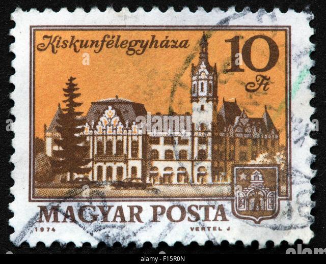 Magyar Posta 1974 Vertel J Kiskunfelegyhaza 10Ft castle house Stamp - Stock Image