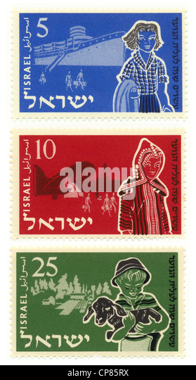 Historic postage stamps, 20th Anniversary of Youth Aliyah, the Jewish organization for the rescue of children from - Stock Image
