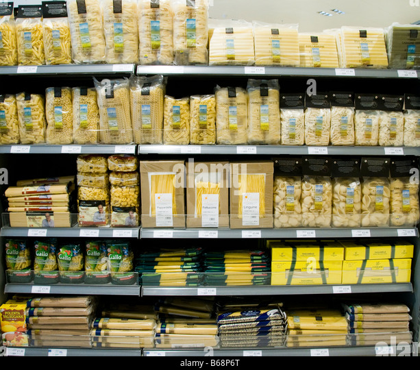 Pasta for sale in a supermarket - Stock Image