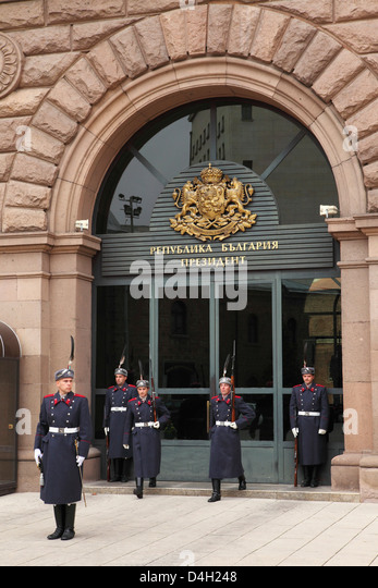 Soldiers participate in the ceremonial changing of the guards at the Presidential Palace, Sofia, Bulgaria - Stock Image