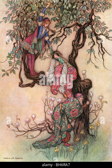 January Helping May into the Tree, by Warwick Goble, from The Complete Poetical Works of Geoffrey Chaucer, 1912. - Stock Image
