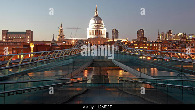St Pauls Cathedral London late in the evening, from Millennium bridge - Stock Image