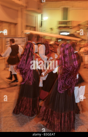 Italy Sardinia Olbia dance performance with traditional costumes - Stock Image