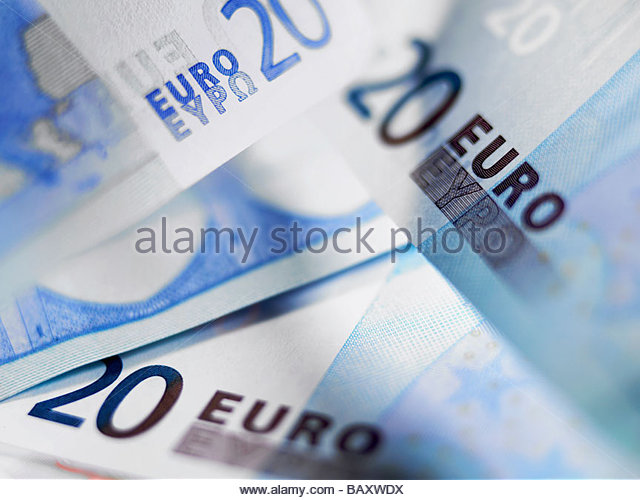 Close up of 20 euro notes - Stock Image