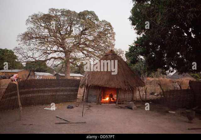 A village in the Kolda region, South Senegal. - Stock Image