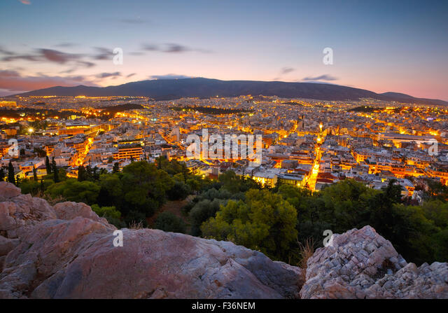 Morning view of Athens from Filopappou hill, Greece. - Stock Image